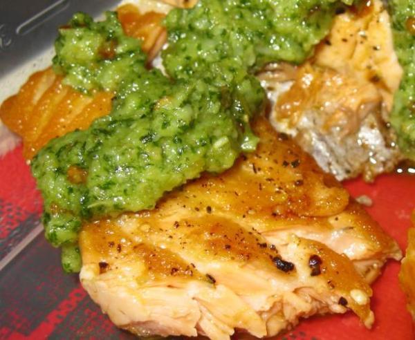Salmon with Lemon Basil Pesto