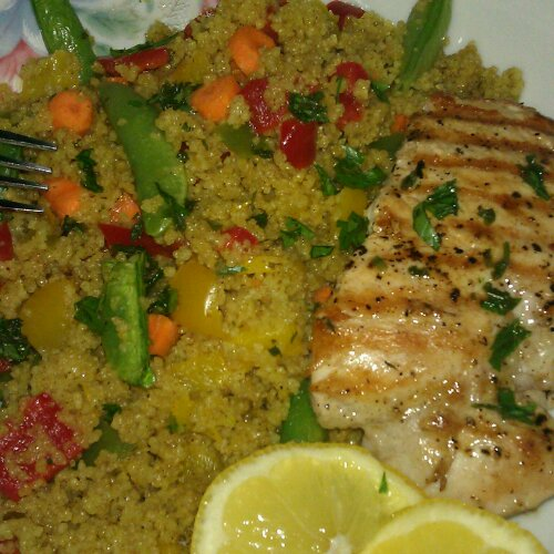 grilled lemon chicken with Moroccan couscous